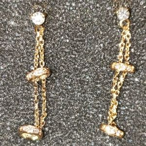 14k solid gold real diamonds earrings
